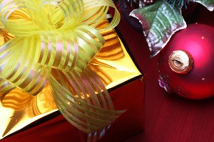 gift box and christmas decoration