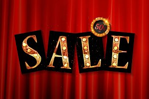 Shining sale on red curtain