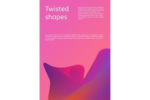 Modern cover with twisting shape element. Trendy minimal design. Gradient ribbons.