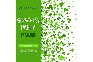 Saint Patrick s Day poster with green four and tree leaf clovers on white background. Vector illustration. Party invitation design, typographic template. Lucky and success symbols.