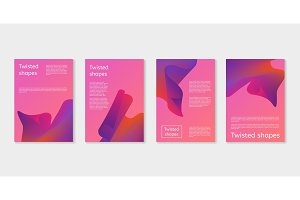 Set of modern covers with twisting shape elements. Trendy minimal design. Gradient ribbons.