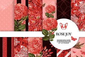 Red Rose Floral Digital Papers