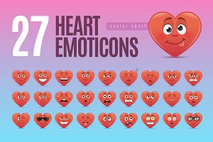 Heart Emoticons Set
