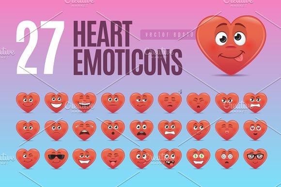Heart Emoticons Set