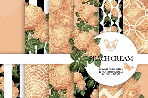 Peach Floral Digital Papers