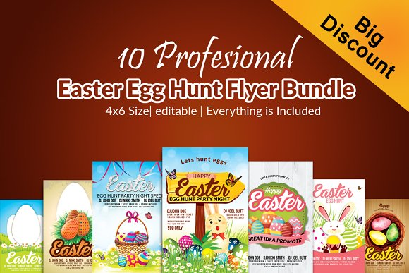 10 Easter Egg Hunt Flyer Bundle