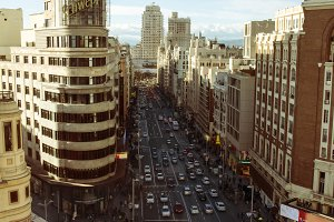 Gran Via and Plaza Callao, Madrid.