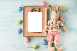 Easter greeting card with bunnies