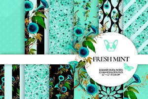 Mint Floral Digital Papers