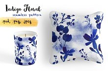 Indigo floral watercolor pattern