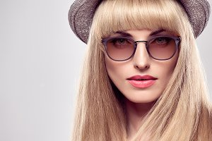 Fashion Portrait Blond Model Stylish