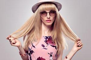 Fashion Blond Girl, Stylish glasses