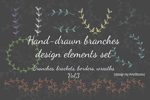 Hand-drawn branches set3