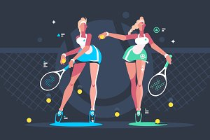 Girls play tennis on court