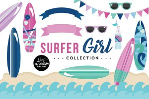 Surfer Girl Graphics & Patterns