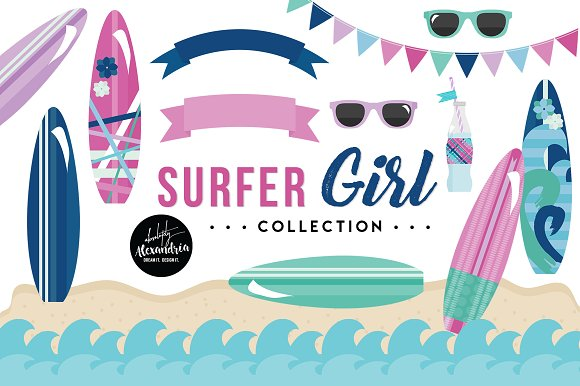 Surfer Girl Graphics Patterns
