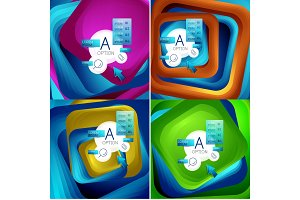 Set of rotating swirl square backgrounds, color rectangles with stepping blending effect with sample infographics or slogan. Business presentation templates.