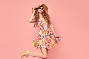 Playful Summer Lady. Floral Dress,He