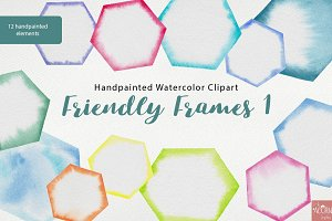 Watercolor Friendly Frames 1 PNG