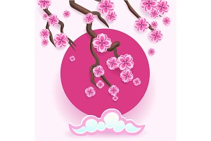 Branch of pink sakura. Japanese cherry tree blossom with rising sun. Vector Illustration