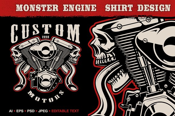 Motorcycle Engine With Skulls