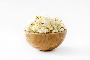 Popcorn in bowl isolated