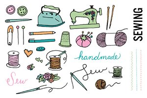 Sewing Doodle Clip Art