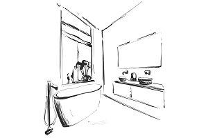 Hand drawn Bathroom interior sketch. Washbasin, mirror and tap sketch