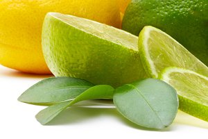 lemon and lime with leaf