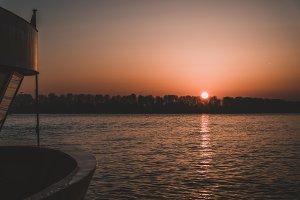 Sunset over Elbe River in Hamburg