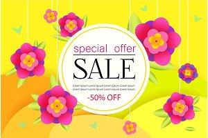 Sale Banner with flowers. Big Sale special offer Poster. For website, online market, store. Vector illustration