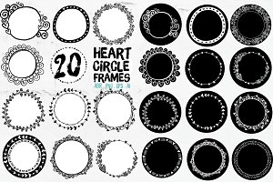 Heart Circle Frames, Round Borders