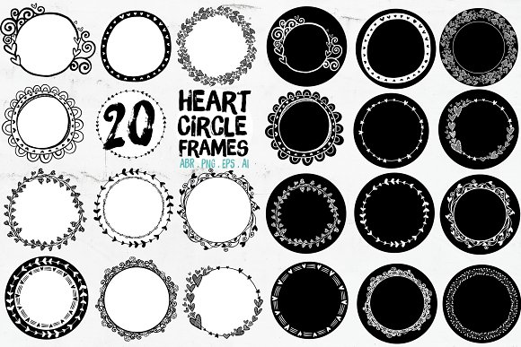 Heart Circle Frames, Round Borders ~ Graphic Objects ~ Creative Market