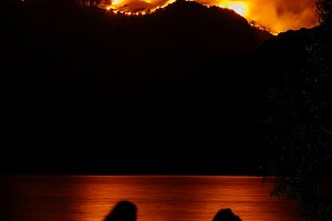 Two women watching Forest Fire