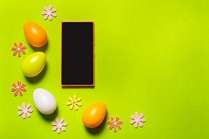 Smart phone and Easter decor