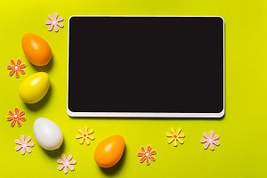 Digital tablet and Easter decor