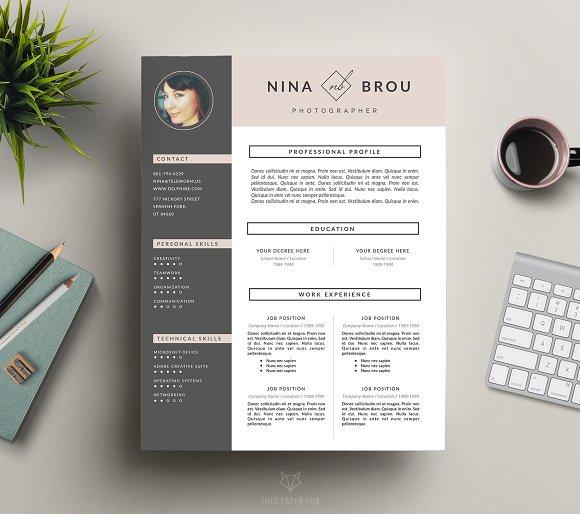 Feminine Resume Design | CV ~ Resume Templates ~ Creative Market
