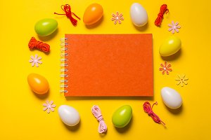 Blank notebook and Easter decor