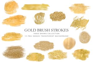 Clipart gold brush strokes