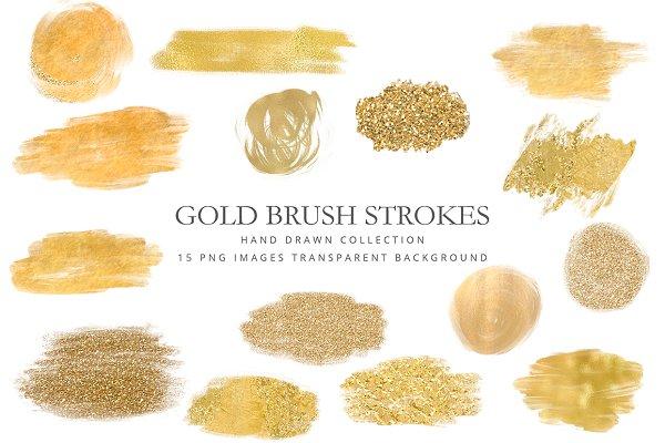 Clipart gold brush strokes