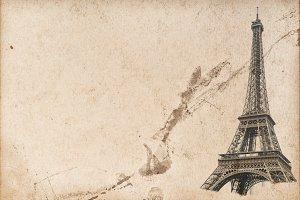 Paper texture Paris Eiffel tower