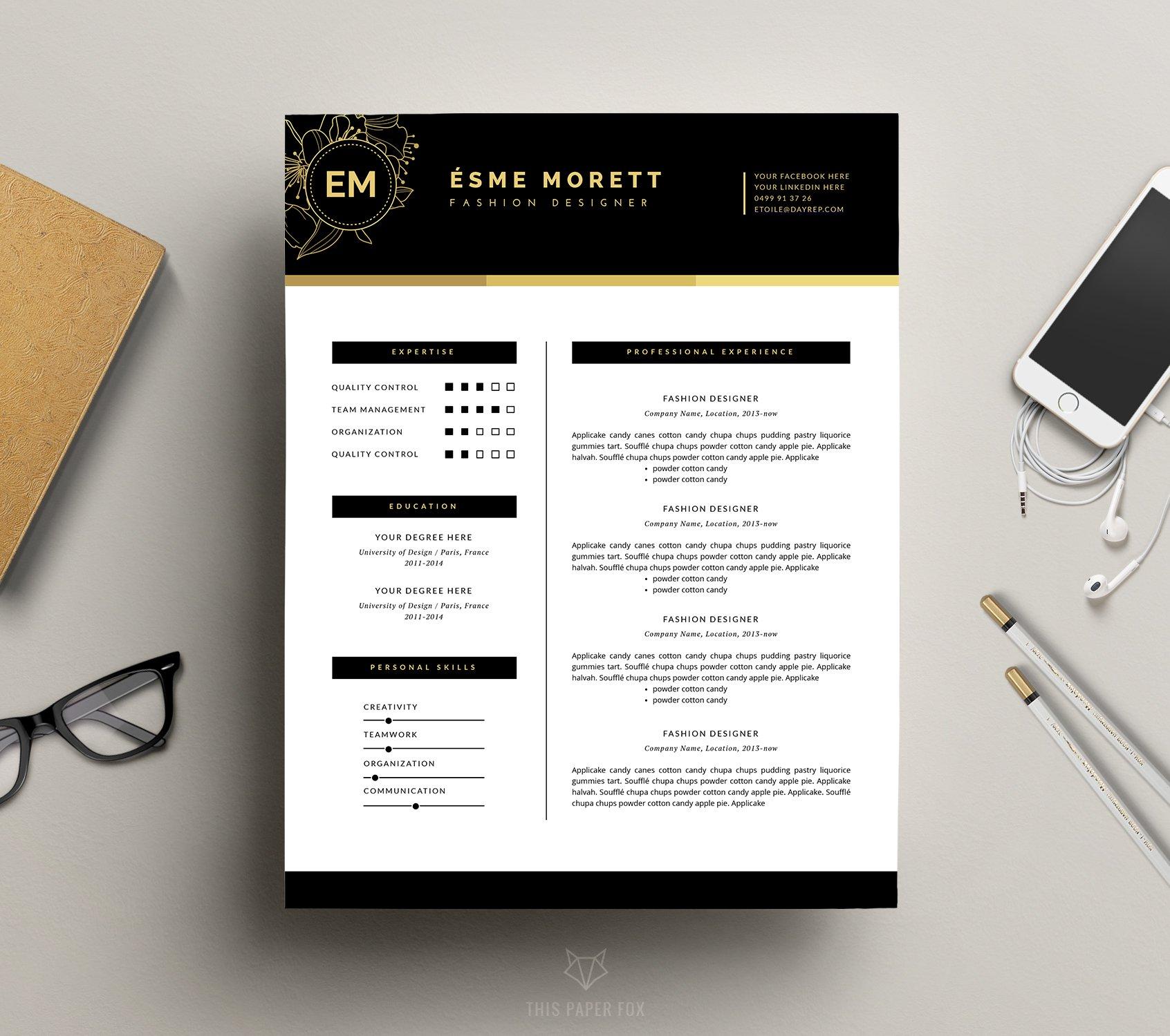 feminine resume template jolié resume templates creative market