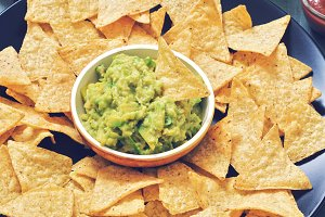 Nachos. corn chips with guacamole