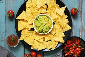Mexican nachos chips with salsa