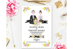 Wedding Couple Portrait Illustration