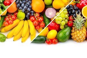 collage fresh fruits and vegetables