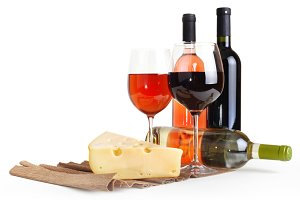 wineglass, bottle of wine and cheese