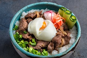 Gyudon bowl or beef and rice dish isolated, copyspace