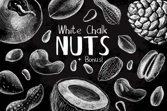 White Chalk Sketched Nuts Clipart