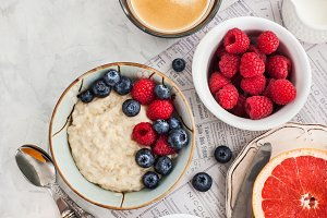 Healthy breakfast table